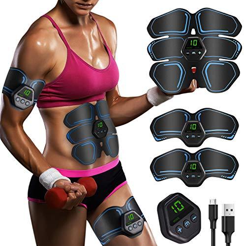 Geternal EMS Trainingsgerät, EMS Bauchmuskeltrainer LCD Bildschirm muskelstimulator USB Wiederaufladbarer Tragbarer Muskel Trainer 10 Modi 20 Intensitäten Geeignet Damen & Herren