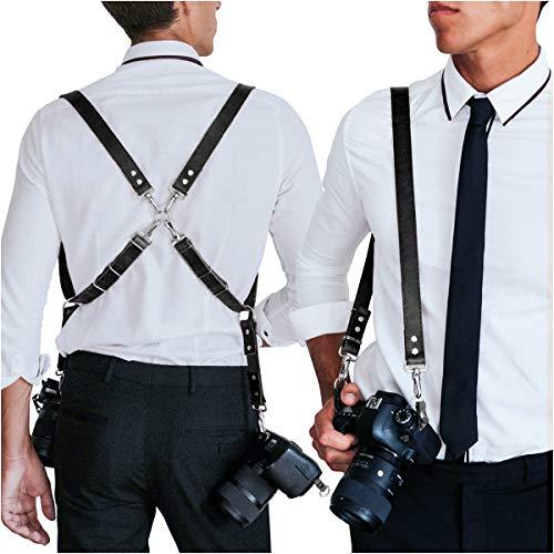 HOMELEX Multi Cameras Dual Shoulders Genuine Leather Harness Vintage Camera Neck Strap (Brown)