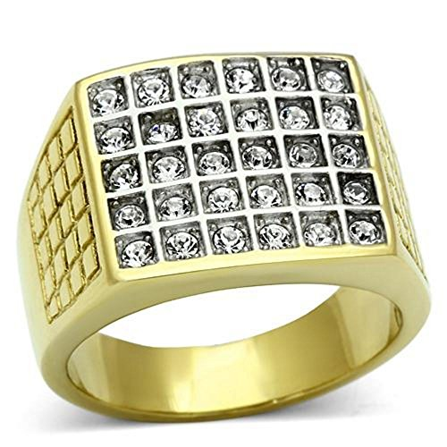 Men's 24k Gold Over Stainless Steel Simulated Diamonds Ring. Total Weight of 12.4gr. Total Width of 16mm.