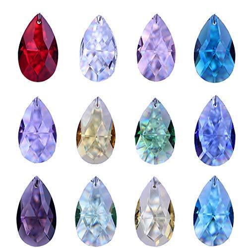 H&D 38 mm Glas Kristall bunten facettierten Kronleuchter Prismen hängenden Paar Tropfen Lampe Kerzenhalter Teile, Kristall, 12 Stück