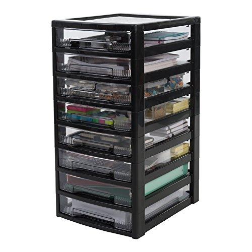 Iris Ohyama 135699, Schubladenschrank / Schubladenturm / Rollwagen / Rollcontainer 'Super Clear Chest', SCC-800, mit Rollen, Kunststoff, schwarz / transparent