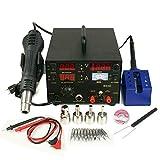 9TRADING 853D 3in1 DC Power Supply SMD Rework Station Soldering Hot Air Gun Welder 110V