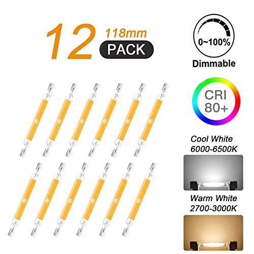 7W R7S 118mm LED COB Licht, J Typ LED Dimmbare LED Lampe Doppelseitiges Flutlicht 7W Entspricht 70W Halogen Sicherheitslichtern, 360° Abstrahlwinkel (12 Stück),Warm White
