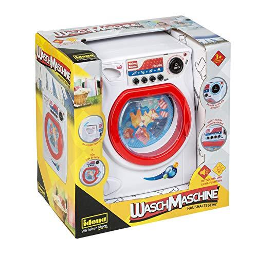 Idena 40449 - Haushaltsserie Waschmaschine mit vier Programmen und rotierender Waschtrommel, Licht- und Tonfunktion, ca. 14 x 27 x 25 cm, für Kinder, zum Erlernen praktischer Fertigkeiten im Haushalt