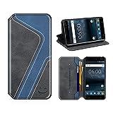 MOBESV Smiley Nokia 6 Hülle Leder, Nokia 6 Tasche Lederhülle/Wallet Hülle/Ledertasche Handyhülle/Schutzhülle mit Kartenfach für Nokia 6, Schwarz/Dunkel Blau