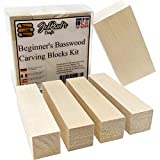 Basswood - Premium Wood Carving Kit - Best Value Real American Wood Blocks - Preferred Soft Wood Blank Sizes Included in This Whittling Kit - Ready for All Wood Carving Tools - Made in The USA