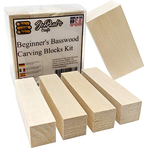 Basswood - Premium Wood Carving Kit - Best Value Real American Wood Blocks - Two Soft Wood Blank Sizes Included in This Whittling Kit Made in The USA