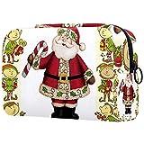 Neceser de Maquillaje para Mujer Bolso Organizador de Kit de Viaje cosmético,Duendes pies de Duende Santa Claus bastón de Caramelo