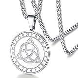 FaithHeart Medalla Nudo Celta Irlandés Collar Acero Inoxidable 316L de Hombres Mujeres Amuleto de Talismán Colgante Nórdico Religioso
