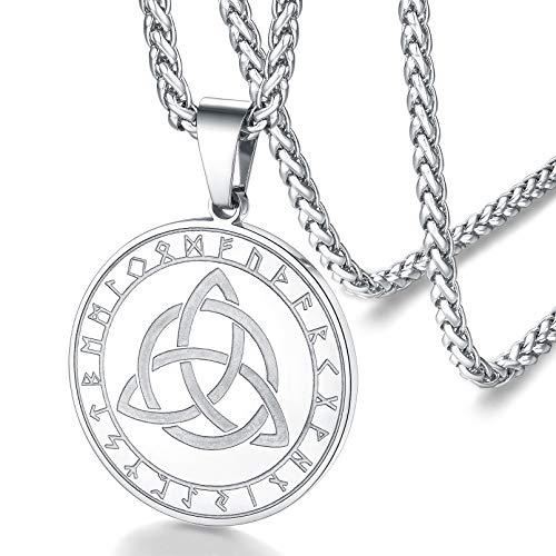 FaithHeart Medalla Nudo Celta Irlandés Collar Acero Inoxidable de Hombres Mujeres Amuleto de Talismán Colgante Nórdico Religioso