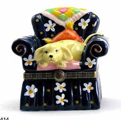 Preisvergleich Produktbild Puppy Hund Doggy auf Stuhl Quilt Schmuckkästchen biokompatibel