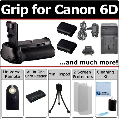 Battery Grip for Canon EOS 6D DSLR Camera + LP-E6 Batteries, Car/Home Charger + Universal Wireless Remote, All-in-One Card Reader & eCostConnection Starter Kit