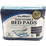 Medokare Disposable Incontinence Bed Pads - Hospital Grade 1500ml Super Absorbent Disposable Bed Mats for Bedwetting, UnderPad for Kids, Mattress Pad Protector with Adhesive (20 Pads w/Tags)