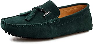 Mens Driving Penny Loafers Suede Moccasins Slip On Casual Dress Suede Leather Boat Shoes