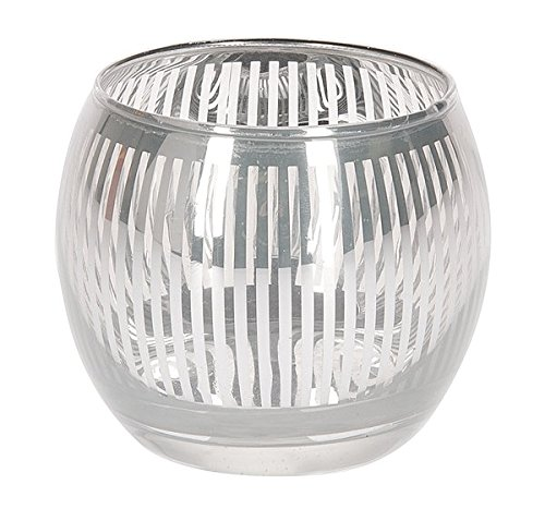 Ganz Silver Candle Holder With Stripes (EX18447)