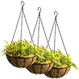 Tosnail 3 Pack 10' Metal Hanging Flower Pots Hanging Planters Plant Basket With Coco Fiber Liners