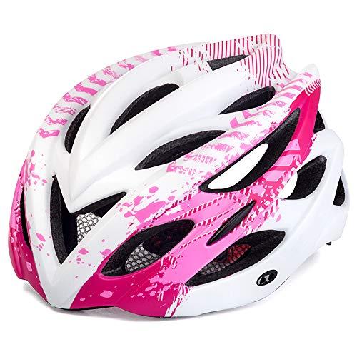 ILKJ Casco de Ciclo Mujer Blanco Rosa, Carretera Cascos Bici con Desmontables...