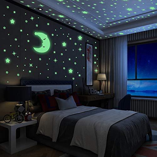 Luminoso Pegatinas de Pared Yosemy Luna y Estrellas, Fluorescente Decoración de Pared para Dormitorio de Niños, DIY Decoración de la Habitación Para Chico Niña Bebé, Casa Interior Mural, 200 Pzas
