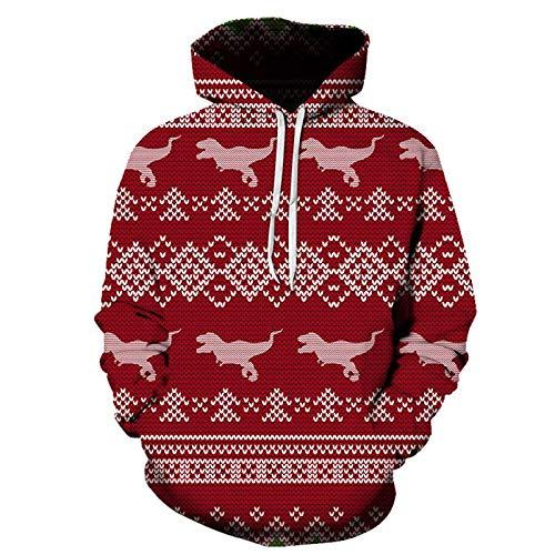 Mr.BaoLong&Miss.GO Otoño E Invierno Suéter De Navidad para Hombres Suéter De Ciervo De Navidad Casual Hombres Y Mujeres con Capucha Camiseta Chaqueta Abrigo Camisa De Fondo