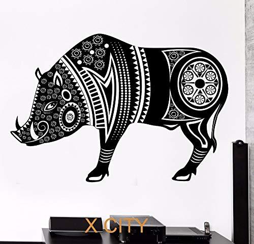 supmsds Wildschwein Schwein Tier Tribal Ornament Schwarz Wandkunst Aufkleber Aufkleber Abnehmbare Vinyl Transfer Schablone Wandbild H 50X81CM