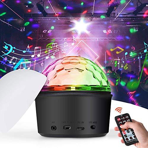 iKALULA Discokugel, Disco Lichteffekte LED Discokugel Party Licht Mini Discolicht Projektor Lampe mit Fernbedienung Bluetooth Sprecher MP3 Musik Player für Hochzeit Geburtstag Zimmer Bühnenbeleuchtung