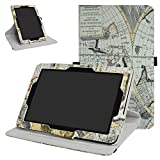 Verizon Ellipsis 10 Rotating Case,Mama Mouth 360 Degree Rotary Stand with Cute Cover for 10.1' Verizon Ellipsis 10 Android Tablet,Map White