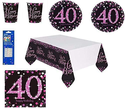 Mgs33 Kit Anniversaire 40 Ans Complet décoration Table 16 Personnes (16 Assiettes, 16 gobelets, 16 Serviettes, 1 Nappe ) fête Joyeux Anniversaire argenté Rose Silver Brillant