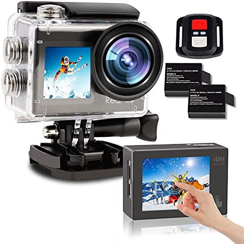 2021 Action Camera 4K 60FPS Dual Screen with EIS Stabilization 40M Vlogging Camera 2x1350mAh 20MP Front and Rear Touchscreen Waterproof Underwater Camera Remote Control WiFi Sports Cam 170° Wide Angle