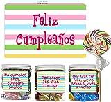 SMARTY BOX Caja Regalo Caramelos y Gominolas Cumpleaños Hombre y Mujer, Pareja, Amigos, Cesta Golosinas Chuches con Mensajes Dulces sin Gluten, Fabricado en España