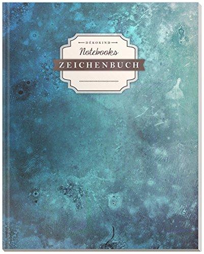 DÉKOKIND Zeichenbuch | DIN A4, 122 Seiten, Register, Vintage Softcover | Dickes Blanko-Notizbuch zum Selbstgestalten | Motiv: Blaue Tusche