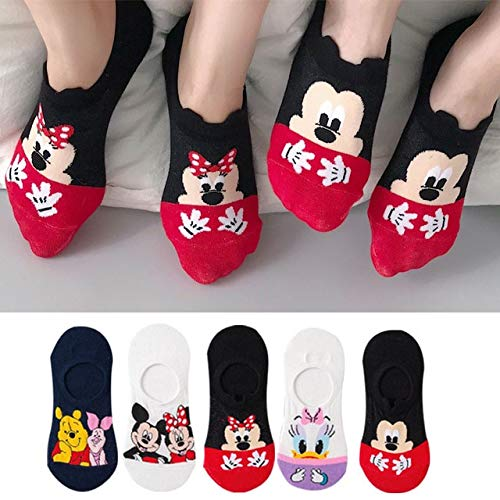 5 par/Lote Verano Casual Lindo Mujeres Calcetines Animal Dibujos Animados ratón Pato Calcetines algodón Invisible Divertido Calcetines tamaño 35-41-a7