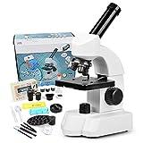 Mikroskop für Schüler Kinder, 40-800x Vergrößerung Biologisches Bildungsmikroskop mit Bedienungs-Zubehör, Slides Set, Telefon-Adapter
