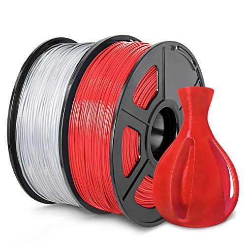 ABS Filament 1.75mm, SUNLU ABS Filament for 3D Printer, Dimensional Accuracy +/- 0.02 mm, ABS Red+Transparent 1KG