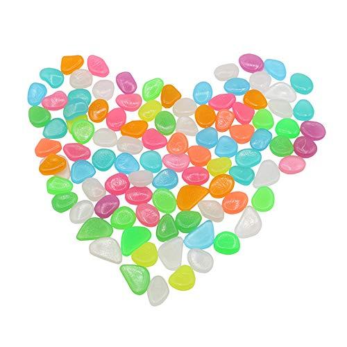 Nuluxi kunstmatige lichtsteen Luminous grind aquarium licht stenen kleurrijke stenen voor het aquarium tuin tuindecoratie fluorescerend parterre kiezelstenen schelpen ideaal voor decoratie (100 stuks)