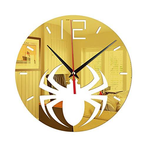 Zjcpow-HO Horloge murale silencieuse à monter soi-même - Motif araignée - Décoration de magasin de vêtements, café, maison (sans pile) - Couleur : doré