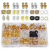 nuoshen 200 Stück Metall Dreadlocks Perlen, 15 Facher Metall Haar Flechten Perlen mit Aufbewahrungsbox 12 Arten Perlen für Haar Zubehör(Gold+Silber+Schwarz)