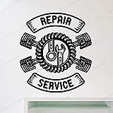 Handaxian Servizio di Riparazione Auto Adesivo murale Decorazione Pneumatici Auto Officina riparazioni Auto Mobile 57x51cm