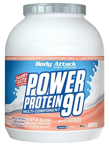 Body Attack Power Protein 90, Strawberry-White Chocolate, 2 kg, 5K Eiweißpulver mit Whey-Protein, L-Carnitin und BCAA für Muskelaufbau und Fitness