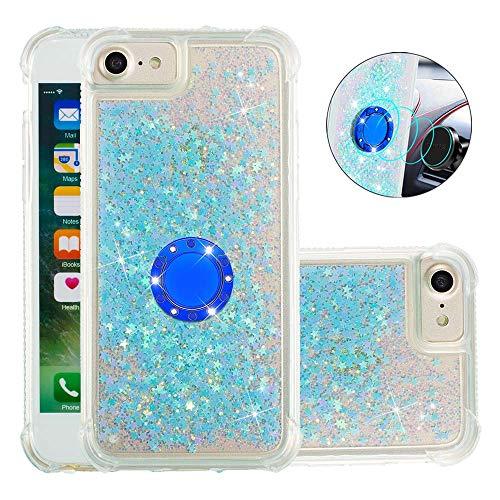 Coque pour iPhone Se 2020,Brillante Cristal Diamant Anneau Socle de téléphone Liquide Dégradé Transparente Silicone TPU Étui Antichoc Coques(Étoiles Bleues fluorescentes)