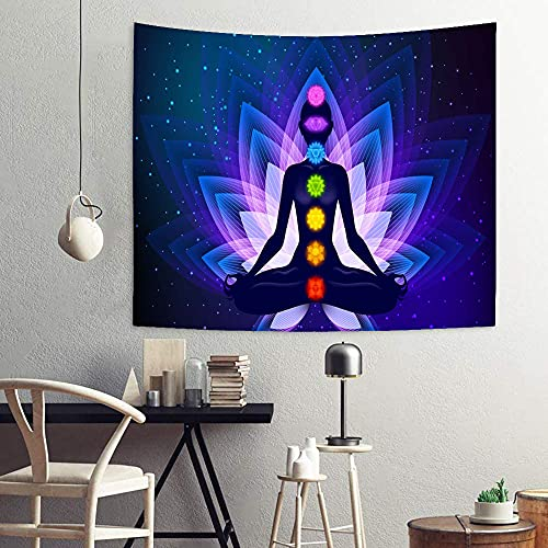 Chakra Tapestry Wall Hanging, Purple Lotus Buddha Zen Spiritual Tapestry Yoga Meditation Tapestry for Bedroom, Polyester Wall Tapestry Home Decor 51'x59' SSA064…