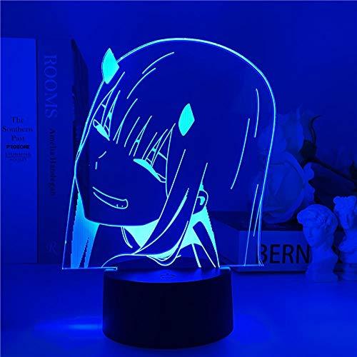 Darling in The FRANXX Zero Two 3D luz noturna LED anime japonês, luminária de mesa de presente infantil RGB modo flash cor amante meninas 16 cores ilusão 3D com controle remoto para quarto de crianças