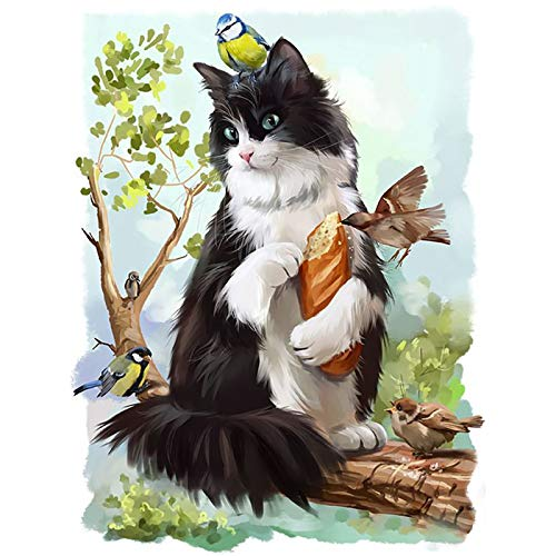 Lazodaer - Kit de pintura de diamante para adultos, niños, decoración de la habitación, regalos de oficina para ella y gato de pie en una rama de 30 x 39,9 cm