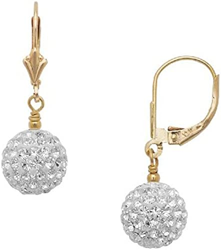 14k Gold 8mm White Crystal Pave Disco Ball Dangle Drop Earrings with Leverback