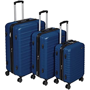 AmazonBasics Hardside Spinner Luggage - 3 Piece Set (20 , 24 , 28 ), Navy Blue