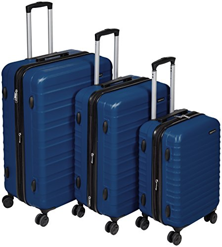 AmazonBasics Hardside Spinner, Carry-On, Expandable Suitcase Luggage with Wheels, Navy Blue - 3-Piece Set