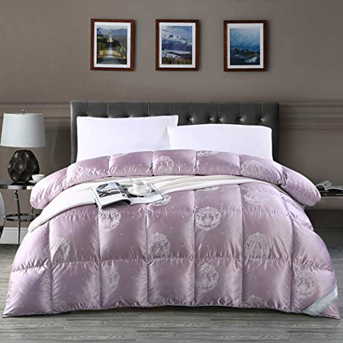LanPerro Winter White Goose Down Comforter, 95% High Grade Fluffy White Goose Down Quilt, Purple Insert Or Stand-Alone Down Comforter,220 * 240CM 1450g