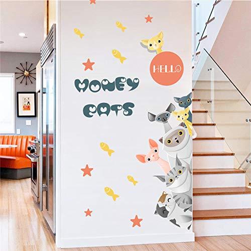 ELGDX Etiqueta Pared Gatos Dibujos Animados Familia