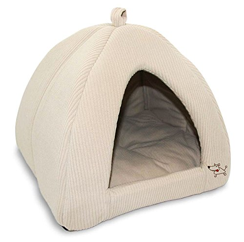 Best Pet Supplies Corduroy Tent Bed for Pets, Beige -...