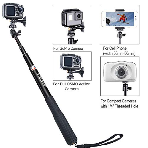 Smatree Telescoping Selfie Stick with Tripod Stand Compatible for GoPro Hero 10/9/8/7/6/5/4/3+/3/Session/GOPRO Hero (2018)/Cameras,DJI OSMO Action,Ricoh Theta S/V,Compact Cameras and Cell Phones
