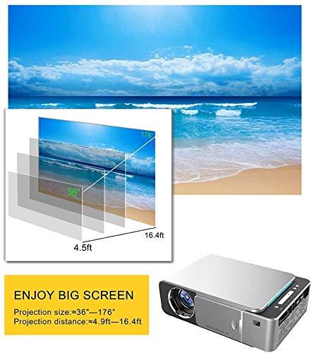 CVDEKH Full HD Proyector UNIC T6 1280x720 Proyector WiFi, Mini Proyector para Cine en casa, Soporte 4K Video Beamer,Plata